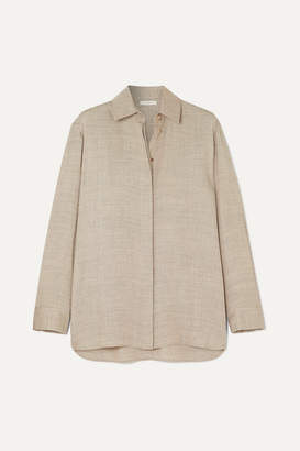 The Row Big Sisea Oversized Wool And Silk-blend Blouse - Beige