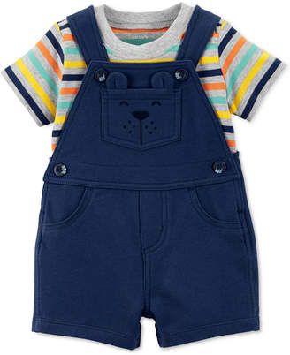 Carter's Baby Boys 2-Pc. Cotton Striped T-Shirt & Short Overall Set