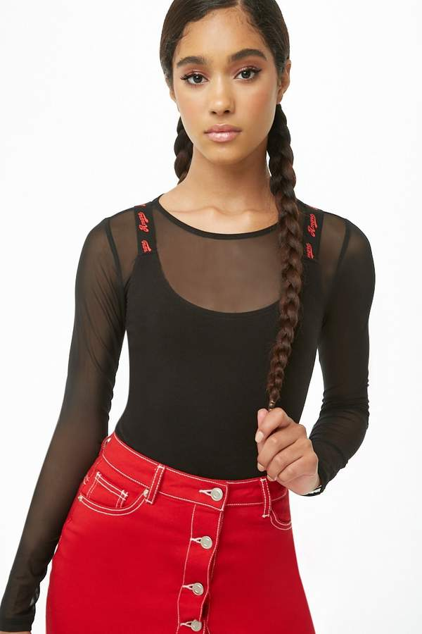 Forever 21 Amore Graphic Cami Bodysuit