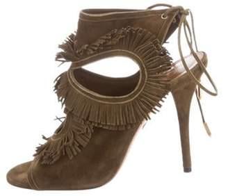 Aquazzura Suede Ankle Strap Sandals w/ Tags Olive Suede Ankle Strap Sandals w/ Tags