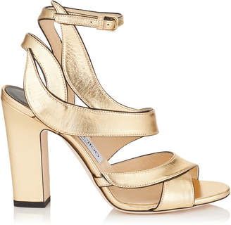 Jimmy Choo FALCON 100 Gold Metallic Nappa Leather Sandals