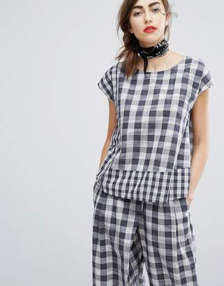 People Tree Hand Woven Boxy Top In Picnic Check Co-Ord
