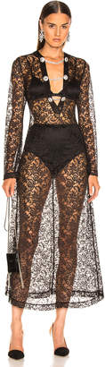 Alessandra Rich Crystal Button Lace Dress in Black | FWRD