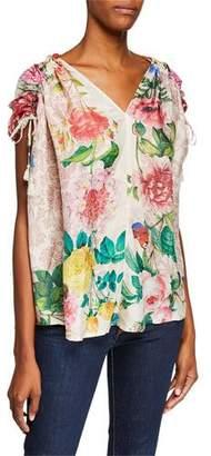 Johnny Was Botan Floral-Print V-Neck Short-Sleeve Caftan Top w/ Tassel Ties