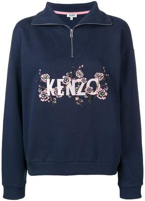 Kenzo floral logo embroidered sweatshirt