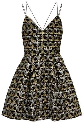 Alice + Olivia Marilla Metallic-embroidered Velvet Dress