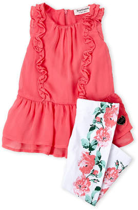Juicy Couture Toddler Girls) Two-Piece Back-Zip Tunic & Floral Leggings Set