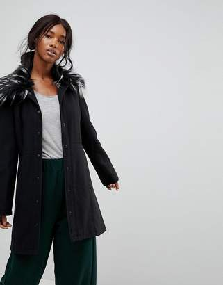 Brave Soul Davina Coat With Faux Fur Collar