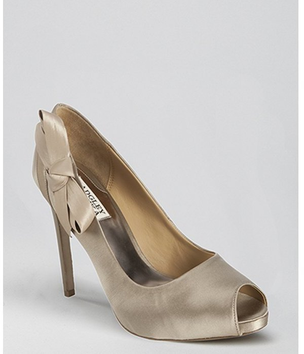 Badgley Mischka nude satin 'Oliver' bow detail peep toe pumps