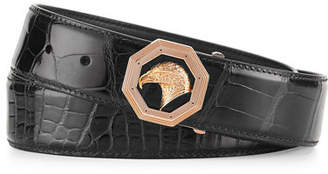 Stefano Ricci Crocodile Belt with Rose Golden Eagle Buckle $2,825 thestylecure.com