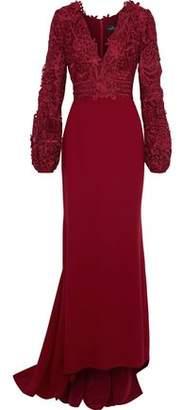 J. Mendel J.mendel Guipure Lace-Paneld Cady Gown