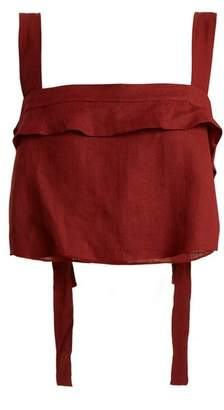 Three Graces London - Jinny Ruffle Trimmed Linen Top - Womens - Burgundy
