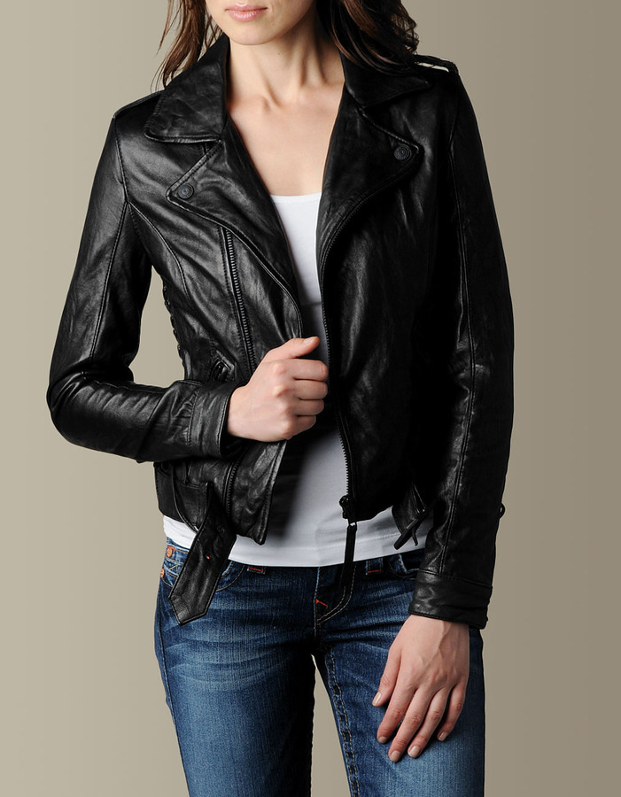 Women's Lace-Up Biker Leather Motorcycle Jacket - Black