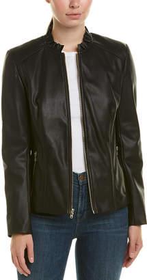 Cole Haan Ruffle Collar Jacket
