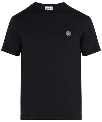 Stone Island Logo Applique Cotton T Shirt - Mens - Black