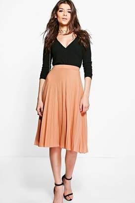 boohoo Geneva Pleated Slinky Midi Skirt $36 thestylecure.com