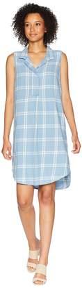 Mod-o-doc Stonewashed Plaid Sleeveless Collared Shirtdress Women's Dress