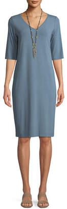 Eileen Fisher V-Neck Half-Sleeve Jersey Dress, Petite