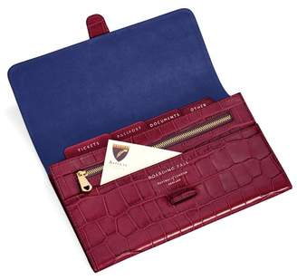 Aspinal of London Classic Travel Wallet In Deep Shine Bordeaux Croc