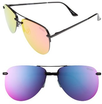 Women's Quay Australia The Playa 64Mm Aviator Sunglasses - Black/ Pink $60 thestylecure.com