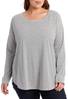 Dropped Shoulder Ls Stripe Tee-Vanilla/Charcoal Marle