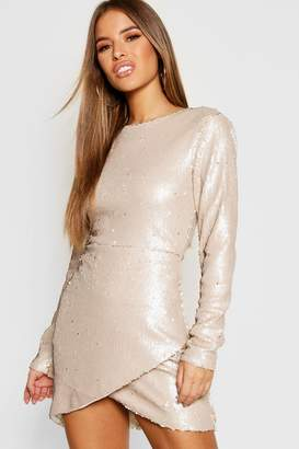 boohoo Petite Wrap Sequin Bodycon Dress