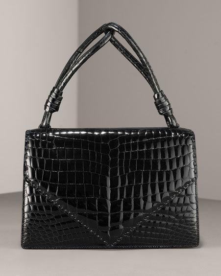 Bottega Veneta Patent Crocodile Envelope Bag