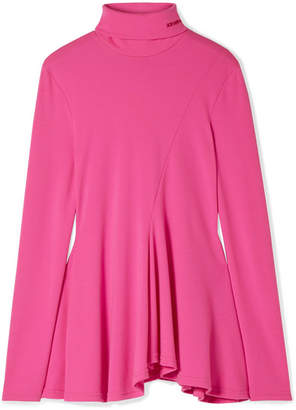 Calvin Klein Embroidered Wool Turtleneck Top - Fuchsia
