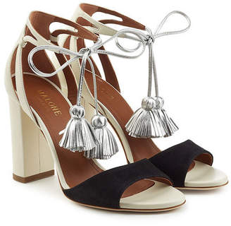 Malone Souliers Gladys Suede and Leather Sandals with Tassels