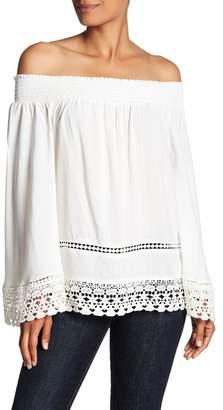 Romeo & Juliet Couture Off-the-Shoulder Smocked Detail Crochet Hem Shirt