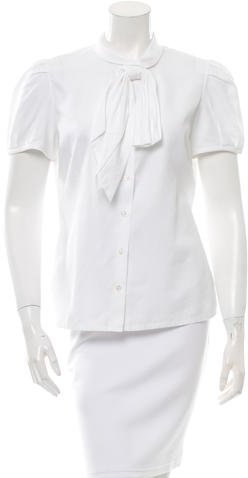 Christian Dior Bow Button-Up Top