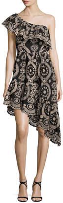 LoveShackFancy Pamela Asymmetric Embroidered Cotton Dress, Black