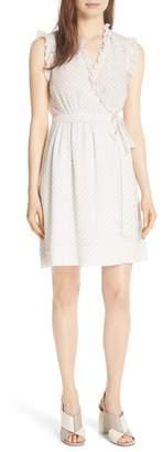 Rebecca Taylor Dot Ruffle Faux Wrap Silk Blend Dress