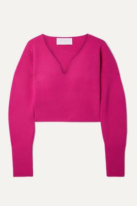 Esteban Cortazar Cropped Stretch-wool And Cashmere-blend Sweater - Fuchsia