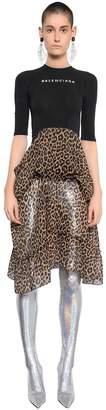 Balenciaga Knit & Leopard Printed Chiffon Dress