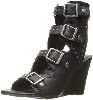Sugar Women's Hucklebaby Buckle Stud Grommet Stacked Wedge Sandal