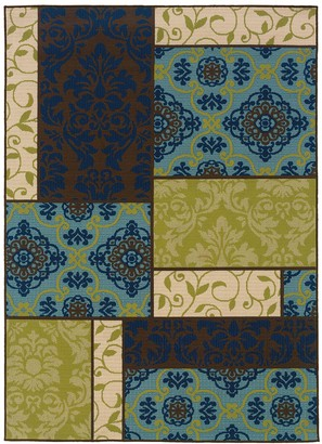Blue Area Stylehaven StyleHaven Cayman Block Scroll Indoor Outdoor Rug