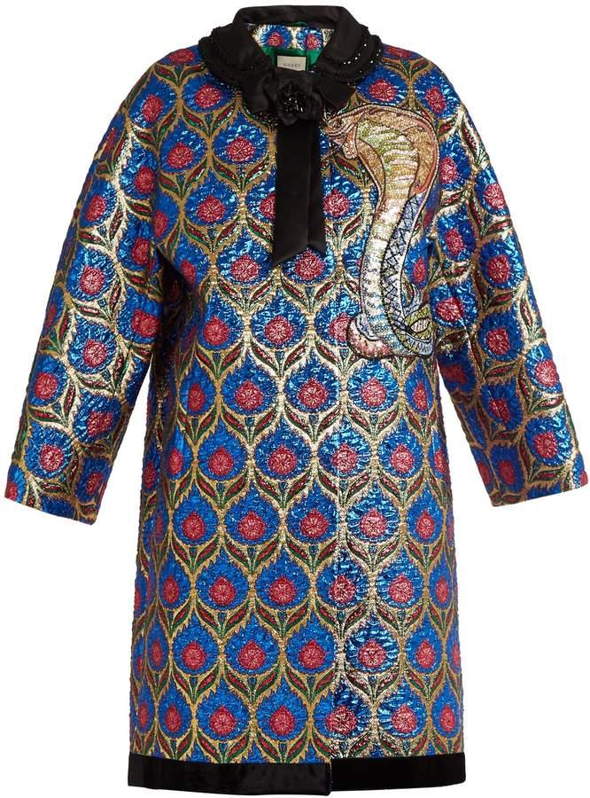 GUCCI Floral-brocade lamé coat