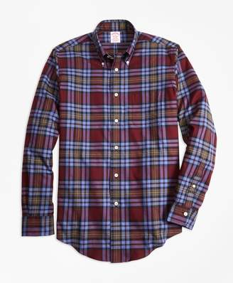 Brooks Brothers Madison Fit Burgundy Plaid Flannel Sport Shirt