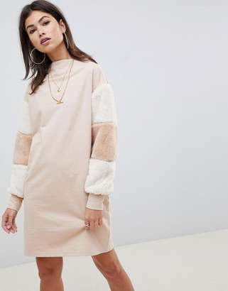 Asos DESIGN funnel neck sweat dress with faux fur sleeves