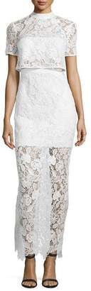 Self-Portrait Marcela Guipure Lace Short-Sleeve Bridal Gown, White