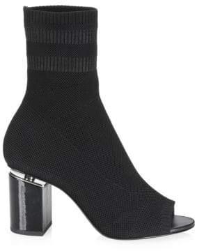 Alexander Wang Cat Mid Heel Peep Toe Sock Booties