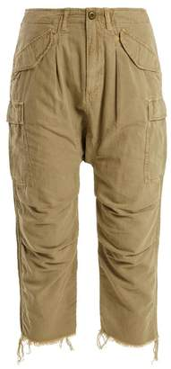 R 13 Mid-rise cotton-blend cropped cargo trousers