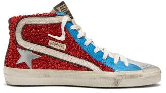 Golden Goose Slide Lurex And Leather Mid Top Trainers - Womens - Red Multi