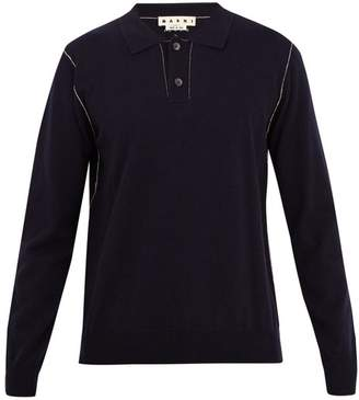 Marni Constrast-stitch cashmere polo sweater