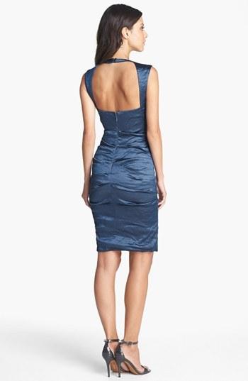 Nicole Miller Techno Metal Embellished Sheath Dress