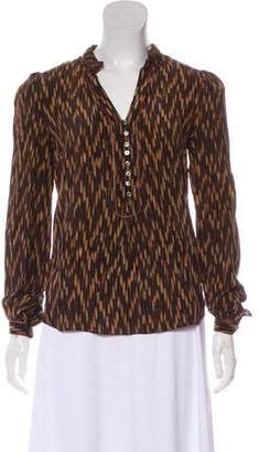 Elizabeth and James Printed Leather-Trimmed Blouse