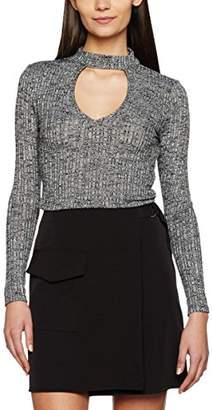 Miss Selfridge Women's Keyhole Marl Long Sleeve Top,Pack of