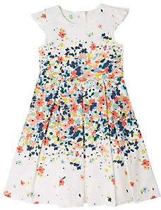 John Lewis Girls' Floral Pleated Summer Dress, Cream