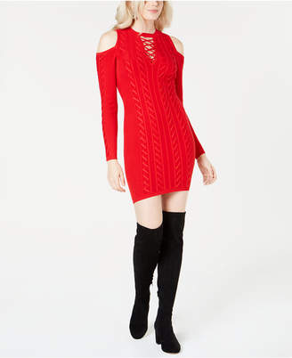 GUESS Allison Cold-Shoulder Sweater Dress